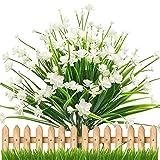 Künstliche Pflanze, 4 Bündel Gefälschten Künstlichen Sträuchern Blumen - Weiße Narzisse Gypsophila, Büsche innen und Außen Hängenden Blumentöpfe für Zuhause, Hochzeit Freien Garten Deko