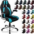 "RACEMASTER® Racing Bürostuhl ""GT Stripes Series"" Gaming Chair Gamer Stuhl klappbare Armlehnen Schreibtischstuhl Wippmechanik Drehstuhl 25 Farbvarianten, schwarz/petrol"
