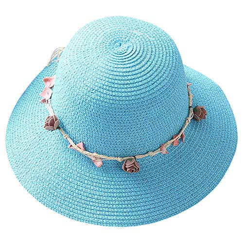 Mützen Beige Sommer Weiblich Eltern Kind Kranz Sommer Shell Kappe Strand Unikat Style Hut Breathable Sommerhut 56 58Cm Caps (Color : Blau, Size : 56-58cm)