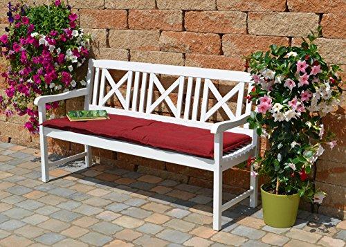 Weiße Gartenbank mit einer roten Auflage Dreisitzer 158 x 61 x 89 cm