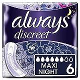 Always Discreet Inkontinenz-Einlagen + Maxi Night 6, bei empfindlicher Blase, verbannt Gerüche & Nässe in Sekunden verhindert Auslaufen–6er-Pack