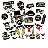 Veewon 40. Geburtstagsfeier Fotorequisiten Fotostand Requisiten Unisex-lustige 36pcs DIY Kit geeignet für seine oder ihre 40. Geburtstagsfeier Fotobooth Stütze