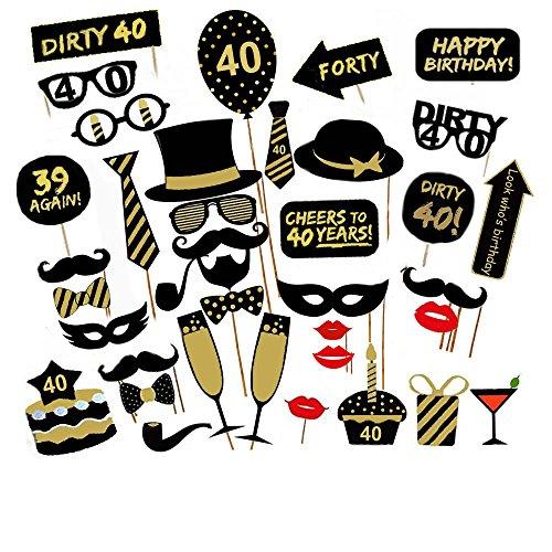 fotorequisiten Veewon 40. Geburtstagsfeier Fotorequisiten Fotostand Requisiten Unisex-lustige 36pcs DIY Kit geeignet für seine oder ihre 40. Geburtstagsfeier Fotobooth Stütze