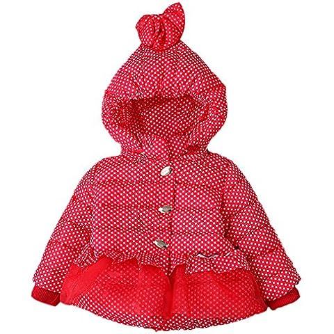 SaiDeng Niñas Niños Puntos Encapuchado Espesar Abrigo Acolchado Rojo 110