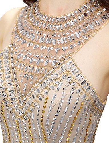 Dressystar Robe femme, Robe de soirée courte,dos nu,aux strass perles, en Satin Jaune