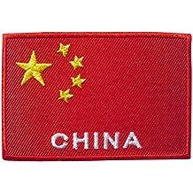 Parches - China bandera - rojo - 7,7x5,1cm - termoadhesivos bordados aplique para ropa