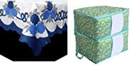 Kuber Industries Center Table Cover Cream & Blue Cloth Net for 4 Seater 40 * 60 Inches (Floral Design) Code-Ctc01 & Metalic