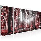 Bilder Wald Landschaft Wandbild 200 x 80 cm Vlies - Leinwand Bild XXL Format Wandbilder Wohnzimmer Wohnung Deko Kunstdrucke Rot 5 Teilig -100% MADE IN GERMANY - Fertig zum Aufhängen 503855c