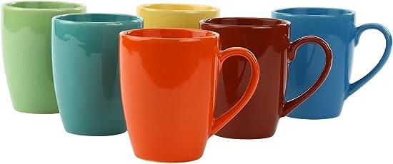 SHRI Krishna Creation Stylish Matt Finish Elegant Design Plain Sparkling Ceramic Tea/Coffee Mug for Office & Home Large Mug 300ml Set of 6 Pieces (Color-Multicolor)