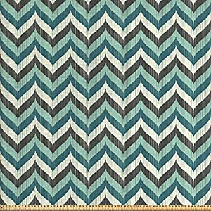 ABAKUHAUS Türkis Gewebe als Meterware, Abstrakte gewellte Linien, Schön Gewebten Stoff für Polster und Wohnaccessoires, 1M (148x100cm), Mehrfarbig