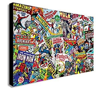 MARVEL COMICS COLLAGE CANVAS WALL ART PRINT VARIOUS SIZES (A3 16x12inch):  Amazon.co.uk: Kitchen U0026 Home