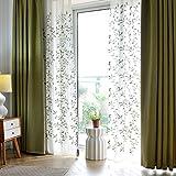 """Color sólido moderno minimalista cortinas de lino, de Algodón , verde paño color natural , 2*(60W x 96""""l)"""