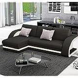 Muebles Bonitos – Sofá cama Hilda con chaise longue universal negro con blanco