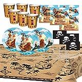 Générique Anniversaire Pirate Party Enfant Garçon Trésor Bateau Décoration Table Vaisselle Nappe Assiettes Gobelets Serviettes Drapeaux 8 Enfants...