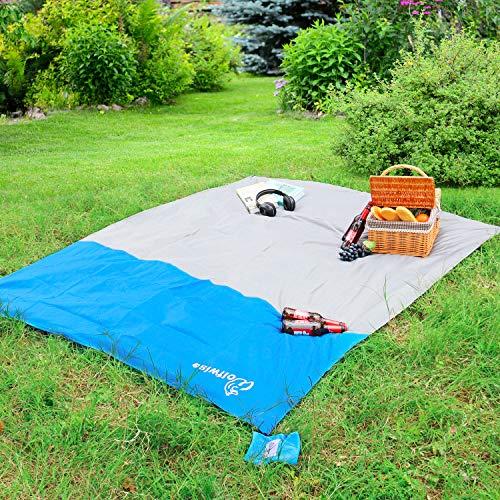 WolfWise 210x160 cm Kleine Picknickdecke, Ultraleichte Campingdecke Stranddecke Wanderdecke Wasserdicht Sandfrei aus Weichem Polyester
