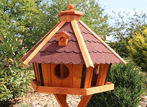 MAXI Vogelhaus Vogelhäuser mit Ständer 70 x 48 cm behandelt (Rot) - 2