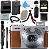 Canon PowerShot G9 X Digital Camera (Silver) 0924C001 + NB-13L Lithium Ion Battery + External Rapid Charger + Sony 64GB SDXC Card + Memory Card Wallet + Card Reader + Micro HDMI Cable + Tripod Bundle
