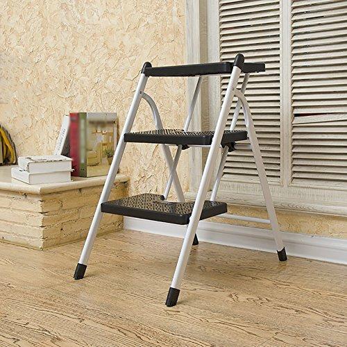 WSSF- Klapp- 2/3 Schritte Leiter Hocker Compact Eisen Sicherheit Anti Slip Trittleiter Küche Hocker Hausgarten Werkzeug DIY Schritt Hocker - Schwarz, Last 100kg (Größe : 41*57.5*68cm) - Schwarz Klapp-gartenmöbel