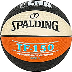 Spalding Lnb TF150 Ballon de Basket-Ball Mixte Enfant, Noir/Orange/Blanc, Taille 3
