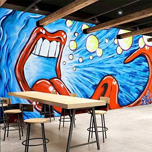 Hwhz Wallpaper Custom Wallpaper Wandbild Graffiti Gold Zähne Mund Hintergrund Wand Blau Abstrakt Mund Europäischen FreskoB-400X280Cm -