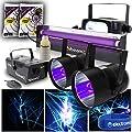 beamz 2x UV Glowing Disco DJ PAR Can Lights Strobe Lighting Fog Machine + Cobweb