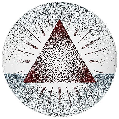 ZMYGH Round Rug Mat Carpet,Geometric Decor,Digital Triangle Form with Dots Retro Pyramid Spiritual Artsy Graphic,Burgundy Blue,Flannel Microfiber Non-Slip Soft Absorbent,for Kitchen Floor Bathroom