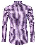 KoJooin Trachten Herren Hemd Trachtenhemd Langarmhemd Freizeithemd Baumwolle - für Oktoberfest, Business, Freizeit (M / 36, Lila)