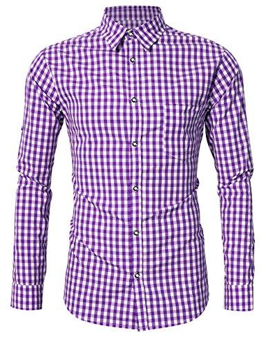 KoJooin Trachten Herren Hemd Trachtenhemd Langarmhemd Freizeithemd Baumwolle - für Oktoberfest, Business, Freizeit (Lila XL)