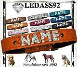 LEDASS92 Hundehalsband mit Namen Strass Halsband Name Strassbuchstaben Swarovski Elements (XL - 43cm - 51cm Halsumfang verstellbar, orange)