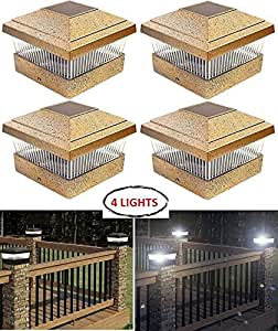 Garden Post Deck Square Cap Fence Solar Powered Light