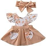 Ropa Conjuntos para Bebé Recién Nacido Niña 2 Piezas 1 Vestido Estampado Floral + 1 Diadema con Lazos Verano y Regalo para Be