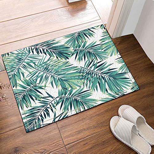 Palm Blätter Teppich (FEIYANG Tropische Pflanzen Dekor Phoenix Palm Blätter Badteppich Rutschfeste Bodeneingänge Outdoor Indoor Haustürmatte 50x80cm Badematte Bad Teppiche)