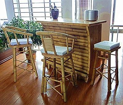 Bambus Bar mit 3 Hocker Bambus Theke Tresen Barhocker Bambusbar Bar
