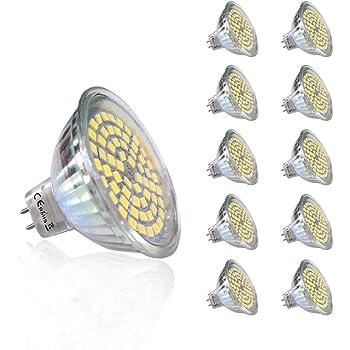 10 piezas 220V 5W GU5.3 430 lm Blanco Fresco MR16 LED empotrada iluminación 6000K Spot bombilla