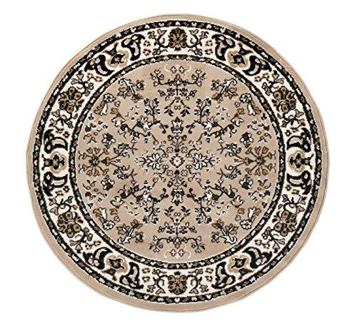 Klassischer Orientteppich Perserteppich Orientteppich - Ornamente Muster Webteppich Kurzflorteppich runder Teppich - in beige 120 cm rund