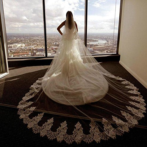 Flower-ager bride veil wedding cathedral 3.5m lungo 3m larghezza 2 tiers veli da sposa in pizzo con pettine,ivory