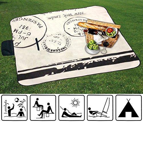 XL Picknick Decke / Stranddecke / Campingdecke / Isomatte / besch. Unterseite / STEMPEL / natur