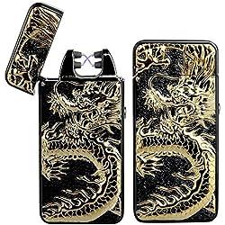 Pard relief Dragon coupe-vent Briquet Arc Cross, USB rechargeable sans flamme électronique Pulse Arc allume-cigare