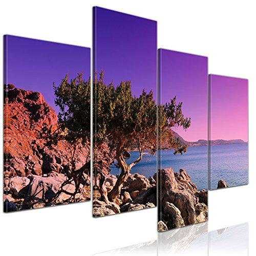 Wandbild - Mediterraner Baum auf Rhodos - Griechenland - Bild auf Leinwand auf 120x80 cm 4 teilig Landschaften Europa - violetter Sonnenuntergang über dem Mittelmeer