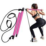 GrandEver Draagbare Pilates Bar Kit met weerstandsband,Yoga Pilates Stick Yoga Oefening Bar met voetlus voor Full Body Workou