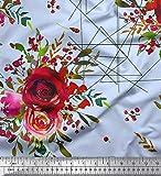 Soimoi Grun Viskose Chiffon Stoff Dreieck, Beeren & Rose