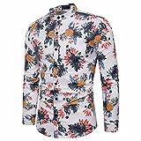 Rawdah Polo Petite Chemise à Manches Longues Mode Chemise Pour Homme Impression Slim à Manches Longues Occasionnels Shirts Bouton de Chemise Formelle Imprimé Casual Top Pour Hommes (XL, Blanc)