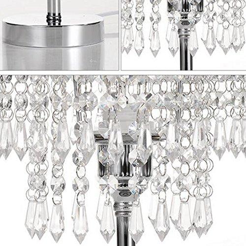Tischleuchte, T-MIX luxuriöse Kristall-Lampenschirm Edelstahl Fassungen stilvolle Schönheit in den Schlafzimmer Wohnzimmer platziert - 2