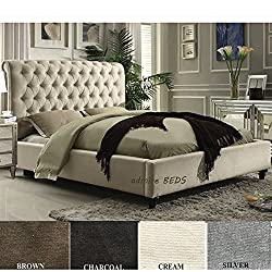 Admire BEDS New Rome Quality Upholstered Chesterfield Design Sleigh Bed Frame in Luxurious Cream Naples Suede (British Velvet) Fabric 4Ft6 (Double Size)