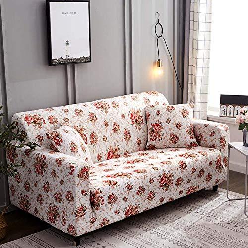 LGBCK Floral Sofabezug Schonbezüge Elastic Stretch Tight Wrap All-Inclusive-Sofa Couchbezug Handtuch Möbel Protector 1/2/3/4 Sitzer @ Color_13_4-Sitzer_235-300cm -