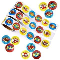Idea Regalo - TUPARKA 450 PCS Superhero Stickers 3 Rullini di Azione Supereroi Parole Adesivi a Tema comici per Bambini Favore di Partito Forniture per Aula