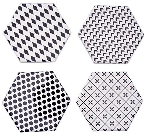 Giftale Untersetzer für Getränke, 9 x 11,4 cm, Keramik, geometrisches Muster, Schwarz/Weiß, 4 Stück