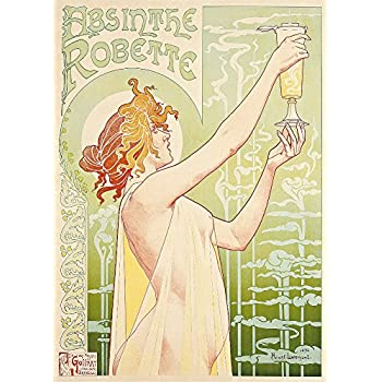 Vintage Beers, Wines and Spirits ABSINTHE ROBETTE by Henri Privat-Livemont, France, 1886. 250gsm Gloss Art Card A3 Reproduction Poster