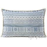 Eyes of India Blau Indigo Hmong Bedruckt Sofa Kissenbezug Kissen Bunt Wurf Sofa Indische Böhmisch Boho - Blau, 16 X 24 in. (40 X 60 cm)