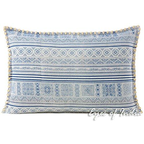 Eyes of India - indigo blau Hmong bedruckt Kissenbezug Kissen Wurf Sofa Indische Böhmisch Boho - 16 X 24 in. (40 X 60 cm)